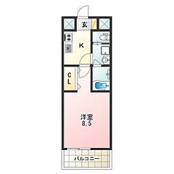 Osaka Metro谷町線 平野駅 徒歩2分の賃貸マンション 10階1Kの間取り