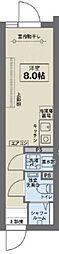JR中央線 阿佐ヶ谷駅 徒歩6分の賃貸マンション 2階ワンルームの間取り