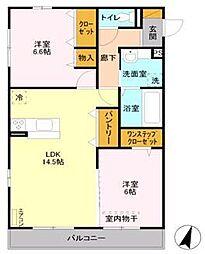 東武野田線 大和田駅 徒歩10分の賃貸アパート 2階2LDKの間取り