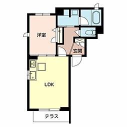 Osaka Metro御堂筋線 新金岡駅 徒歩9分の賃貸マンション 1階1LDKの間取り