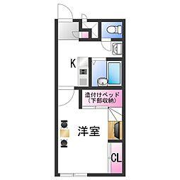 南海加太線 東松江駅 徒歩19分の賃貸アパート 2階1Kの間取り