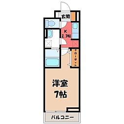栃木県宇都宮市東宿郷3丁目の賃貸アパートの間取り