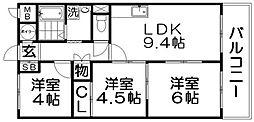 枚方日光ハイツ[3階]の間取り
