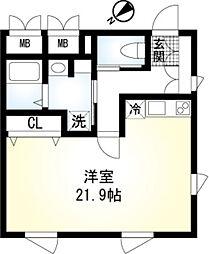 (仮称)翠川ビル新築工事 2階ワンルームの間取り