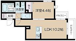 アルム西新宿 2階1LDKの間取り