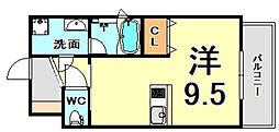 JR東海道・山陽本線 甲子園口駅 徒歩7分の賃貸マンション 4階ワンルームの間取り
