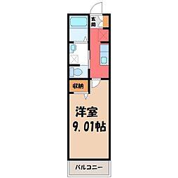 セナリオフォルム宇都宮 3階1Kの間取り