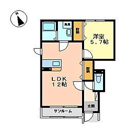 エバーコート[1階]の間取り