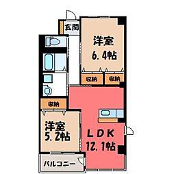 茨城県筑西市中舘の賃貸マンションの間取り