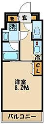 京王線 調布駅 徒歩6分の賃貸マンション 3階1Kの間取り