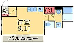 京成本線 京成津田沼駅 徒歩12分の賃貸アパート 2階ワンルームの間取り