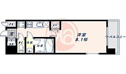 近鉄南大阪線 河堀口駅 徒歩7分の賃貸マンション 9階1Kの間取り