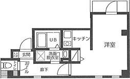 東京メトロ銀座線 浅草駅 徒歩15分の賃貸マンション 5階ワンルームの間取り