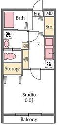 東武東上線 東松山駅 徒歩19分の賃貸アパート 1階1Kの間取り