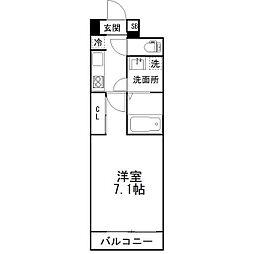 京成本線 京成津田沼駅 徒歩4分の賃貸マンション 6階1Kの間取り