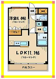 東京都稲城市百村の賃貸マンションの間取り