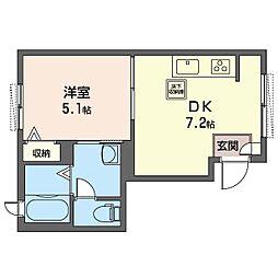 PRO BUN'S 千川 1階1DKの間取り