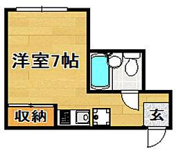 阪急京都本線 上新庄駅 徒歩14分の賃貸マンション 1階ワンルームの間取り