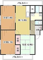 東京都東大和市清水6丁目の賃貸マンションの間取り