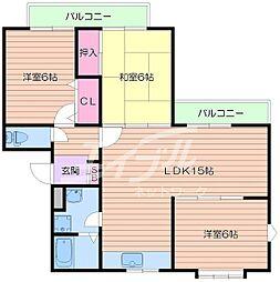 大阪府箕面市石丸2丁目の賃貸マンションの間取り