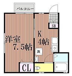東京都大田区西糀谷1丁目の賃貸アパートの間取り