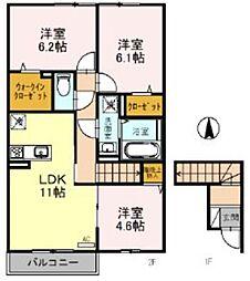 JR京浜東北・根岸線 北浦和駅 バス7分 東瀬ヶ崎下車 徒歩3分の賃貸アパート 2階3LDKの間取り