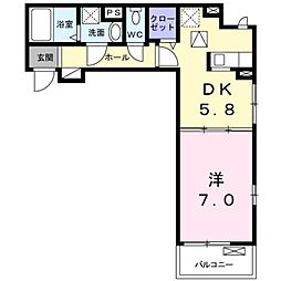 JR常磐線 北柏駅 バス12分 花野井神社下車 徒歩2分の賃貸アパート 1階1DKの間取り