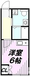 カインドネス所沢宮本町B棟 2階1Kの間取り