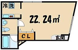 京王線 上北沢駅 徒歩8分の賃貸マンション 3階ワンルームの間取り