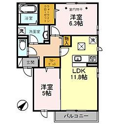 埼玉県越谷市七左町5丁目の賃貸アパートの間取り