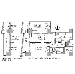 JR山手線 浜松町駅 徒歩3分の賃貸マンション 4階2LDKの間取り