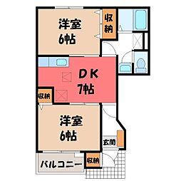 栃木県鹿沼市西茂呂2丁目の賃貸アパートの間取り