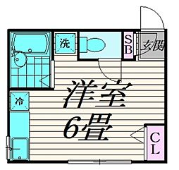 小田急小田原線 祖師ヶ谷大蔵駅 徒歩8分の賃貸アパート 1階1Kの間取り