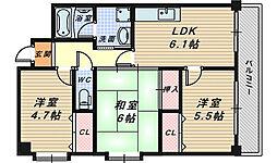 グロワール北花田[2階]の間取り