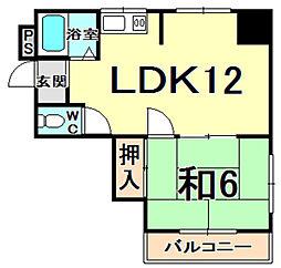 ヴィラグリーン甲子園 1階1LDKの間取り