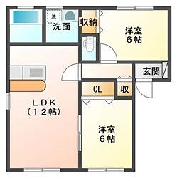 愛知県豊橋市三ノ輪町3丁目の賃貸アパートの間取り