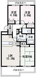 埼玉県朝霞市東弁財3丁目の賃貸マンションの間取り
