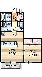 シャトレ清風[1階]の間取り