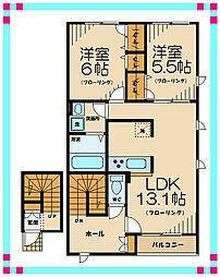 京王線 中河原駅 バス15分 日新町5丁目下車 徒歩2分の賃貸アパート 2階2LDKの間取り