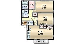 リビングタウン南花田 A・B棟[2階]の間取り