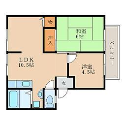 滋賀県近江八幡市出町の賃貸アパートの間取り