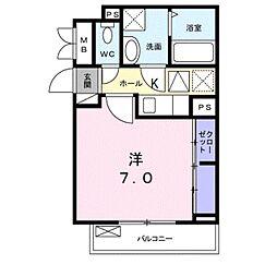 JR川越線 指扇駅 徒歩9分の賃貸アパート 3階1Kの間取り