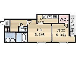 大阪府大阪市住吉区長居西3丁目の賃貸マンションの間取り