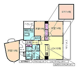 大阪府豊中市中桜塚3丁目の賃貸マンションの間取り