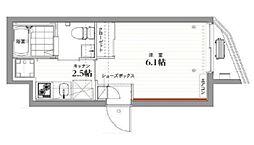COCOCUBE KAMATA 3階1Kの間取り