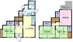 [一戸建] 大阪府松原市松ケ丘2丁目 の賃貸【/】の間取り