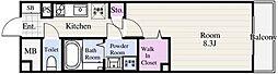 ルージェ東葛西 5階1Kの間取り