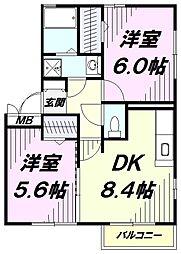 JR南武線 矢川駅 徒歩10分の賃貸アパート 3階2DKの間取り