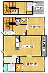 シャーメゾン鶴見II 2階2LDKの間取り