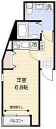 FERIO西蒲田 2階ワンルームの間取り
